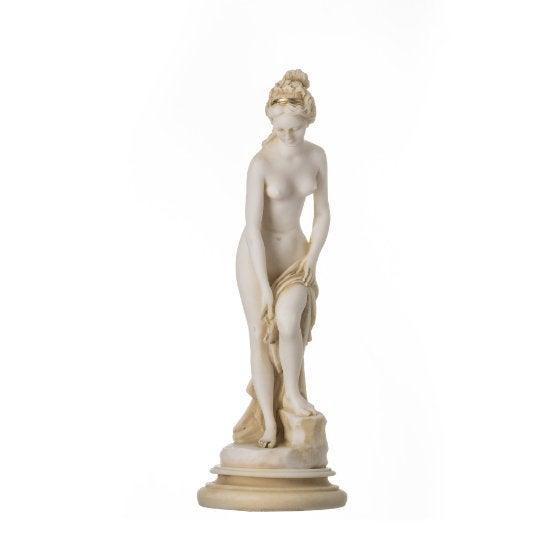 Helen Of Troy Sparta Nude Naked Female Figure Alabaster Statue Sculpture 9″Gold