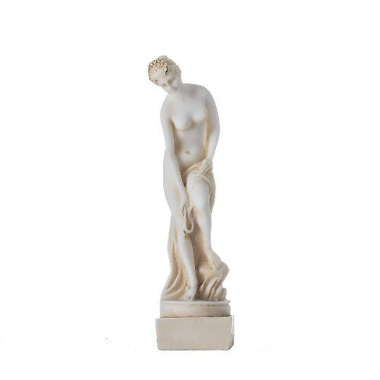 Helen Of Troy Sparta Nude Naked Female Figure Alabaster Statue Gold Tone 5.9″