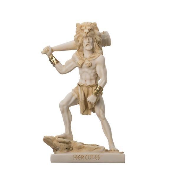 Hercules w Truncheon Gold Tone Alabaster Statue Sculpture NEW Mythology 6.88″