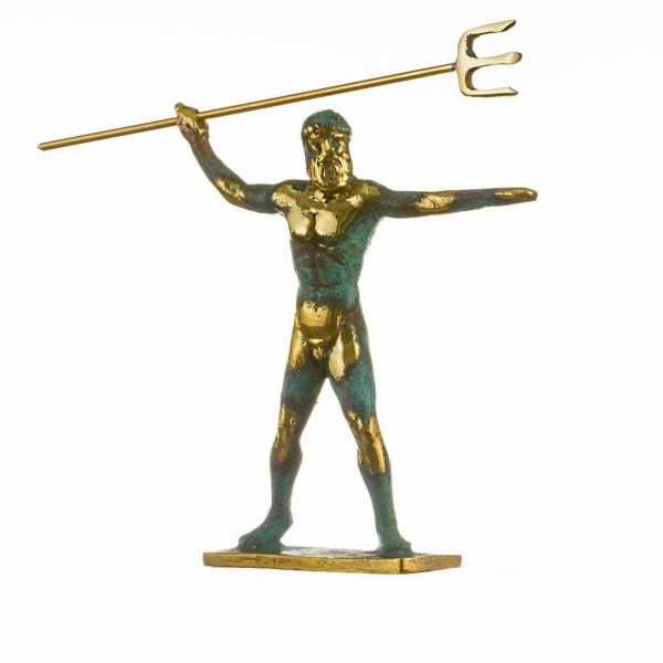 Poseidon Greek God of the Sea With Trident Statue Handmade solid bronze  5.5″