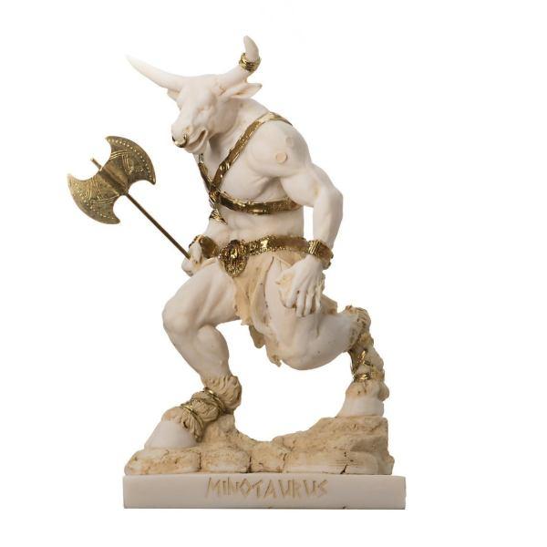 "Minotaur Greek Mythology With Labrys Statue Gold Alabaster 8"""