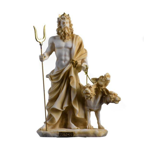Pluto Hades Lord of the Underworld Greek Statue Dead Figurine  Gold Tone 9.4″
