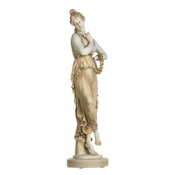 Persephone Goddess Of The Underworld Springtime Flowers & Vegetation Statue Gold Tone 26 Inches