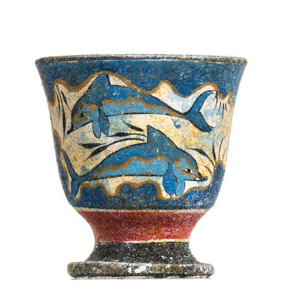 Pythagoras Cup of Justice Pythagorean Fair Mug Ancient Greek Dolphins Ceramic Hand Painted