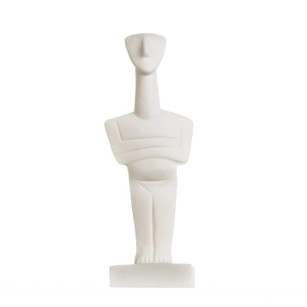 Cycladic Art Male Figurine Cycladic Idol Sculpture Alabaster Statue White Marble Handmade 6.2 Inches