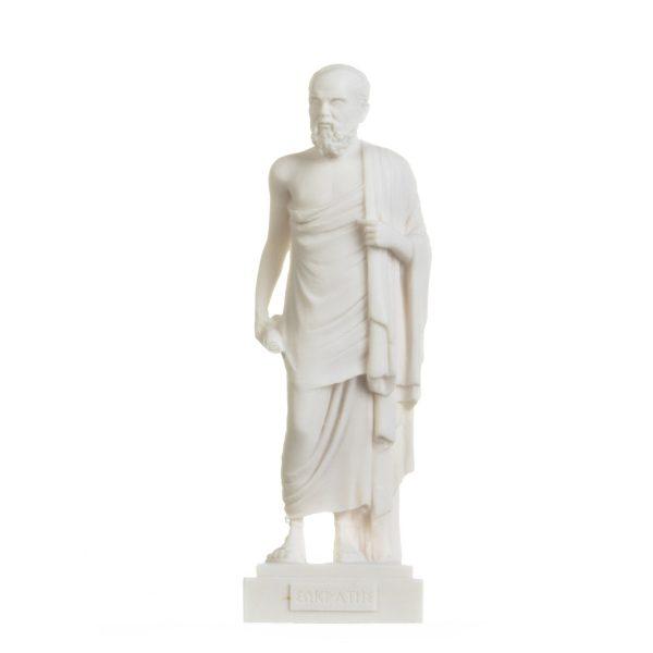 Greek Philosopher Socrates Figurine Alabaster Statue Athens Academy 9.2 Inches