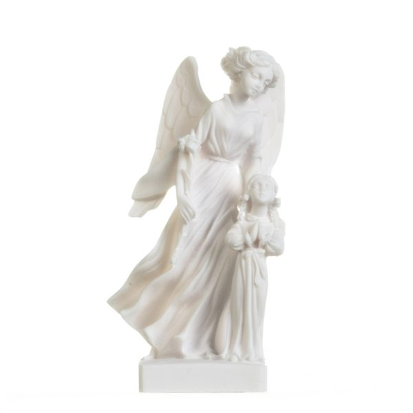 Guardian Angel with Girl Figurine Alabaster Statue Handmade Sculpture 8.1 Inches