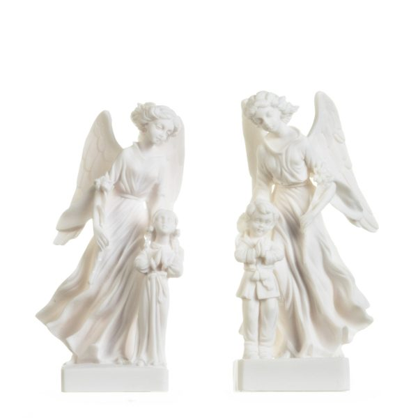 Set of Guardian Angels with Boy Girl Figurine Alabaster Statues Handmade 8.4 Inches