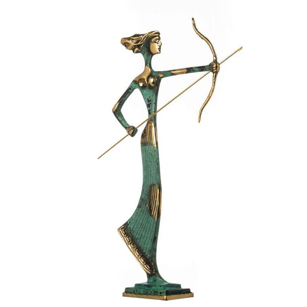 Artemis Diana Greek Statue Nature Moon Goddess with Bow Solid Bronze 14.2″