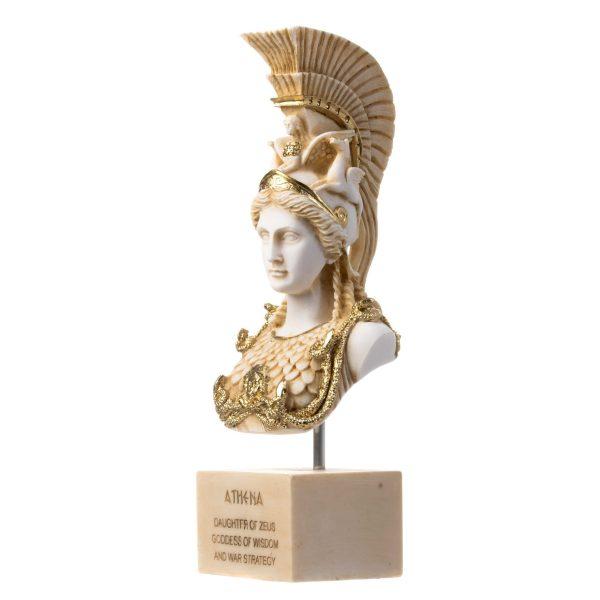 Sculpture Athena Athene Goddess Of Wisdom Gold Tone Alabaster Statue Bust 13.6″