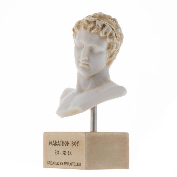 """Marathon Boy Ephebe of Marathon Athlete Alabaster Statue Bust Gold Tone Marble Base 7.5"""""""