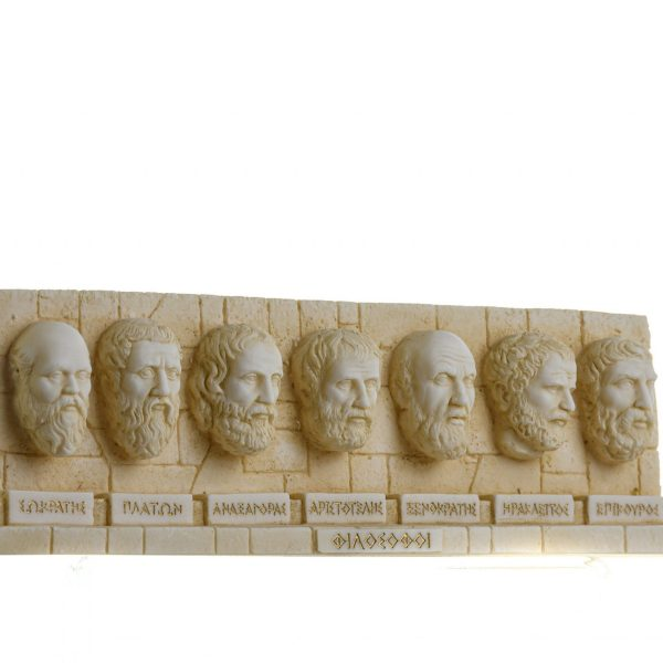 Set of Ancient Greek Philosophers Busts Repousse Alabaster Statue Gold Tone 13.5 Inches