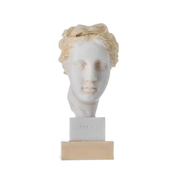 Hygeia Goddess of good health, cleanliness, and sanitation Statue  Bust Gold Tone 5.9″