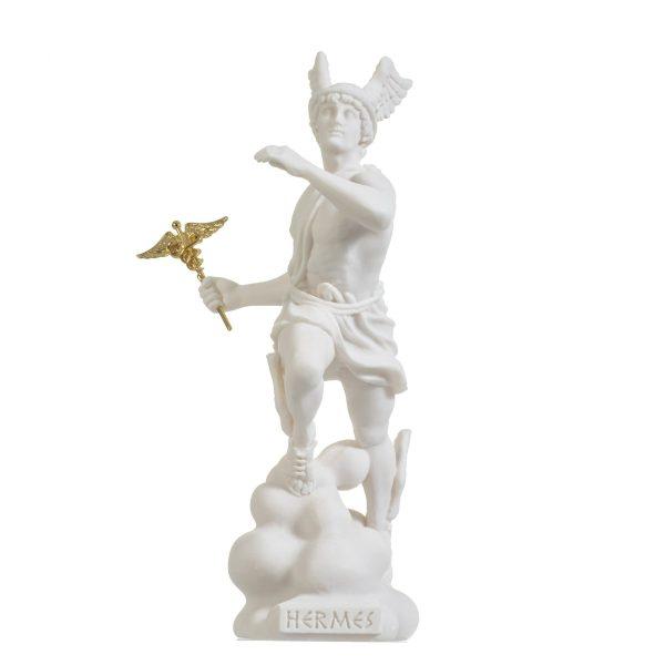 Hermes Mercury God Zeus Son Roman Statue Alabaster 9″ 23cm