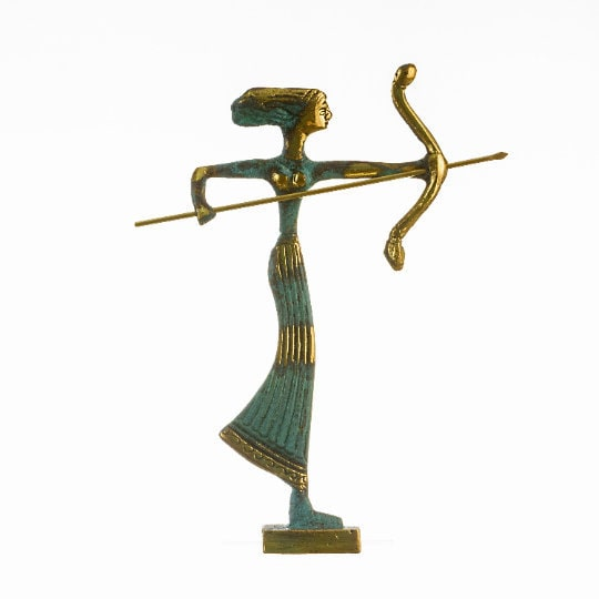 Artemis Diana Greek Statue Nature Moon Goddess with Bow Solid Bronze 6.2″