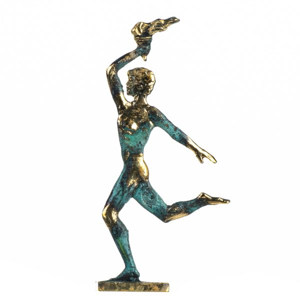 Ancient Olympic Games Flame Torchbearer Solid Bronze Figure Lampadephoria 6.5 Inches