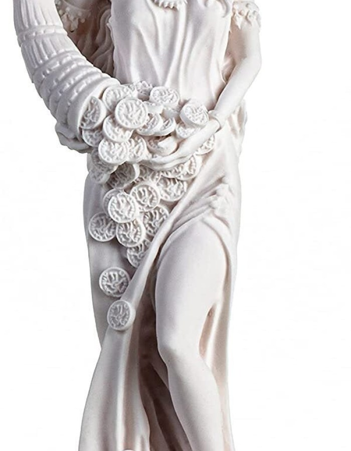 Goddess of Wealth Tyche Lady Luck Fortuna Statue Alabaster Sculpture 16 Inches