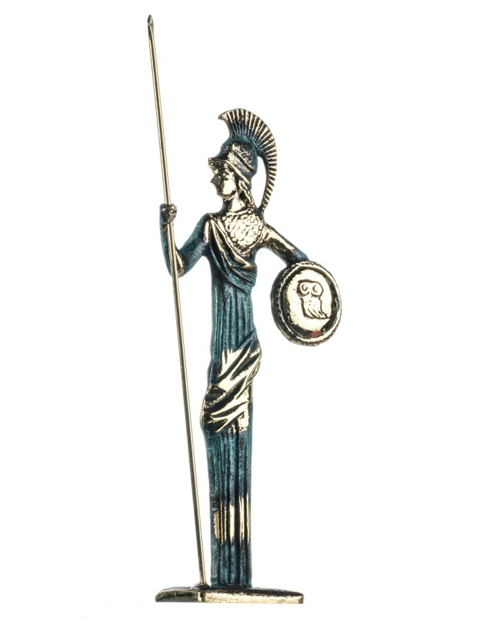 Athena w/Javelin Shield Goddess of Wisdom, Handicraft, and War Handmade Solid Bronze 7.5 Inches