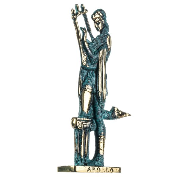 Apollo God Of Music Poetry Art Solid Bronze Statue Green Gold Handmade 8.6 Inches