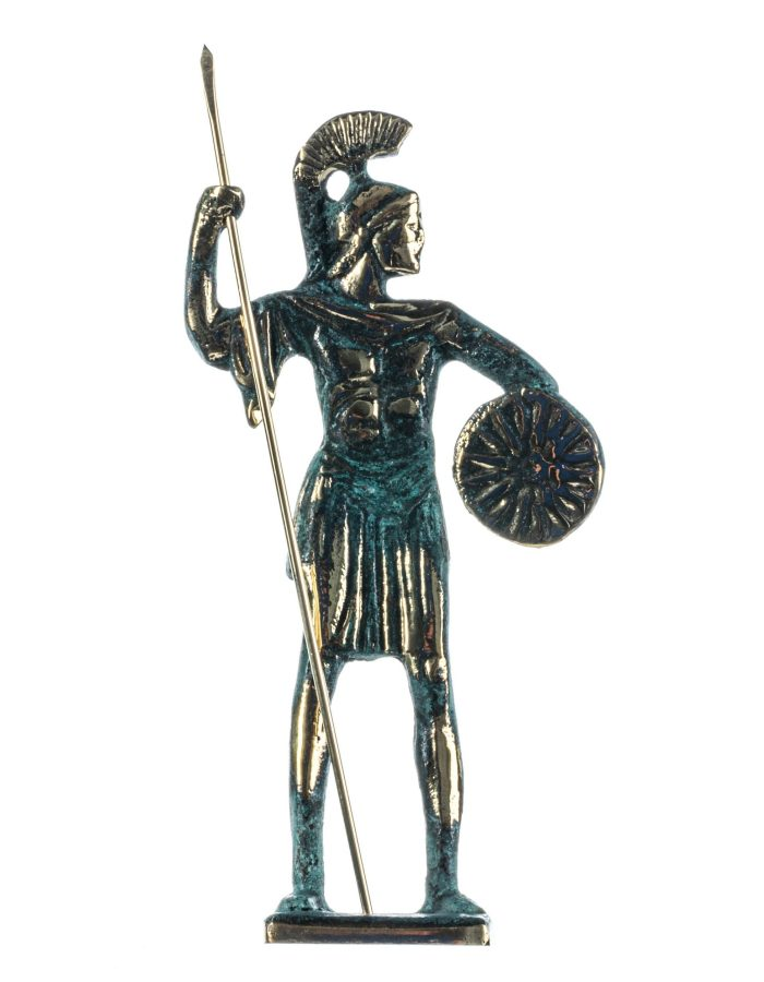 Alexander The Great of Macedonia With Vergina Shield Solid Bronze Handmade Statue 6.8 Inches