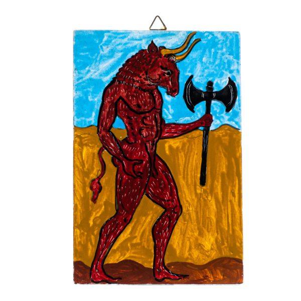 Minotaur Bull Wall Painting Ancient Greece Mythology Small Handmade Decoration Gift 6 Inches