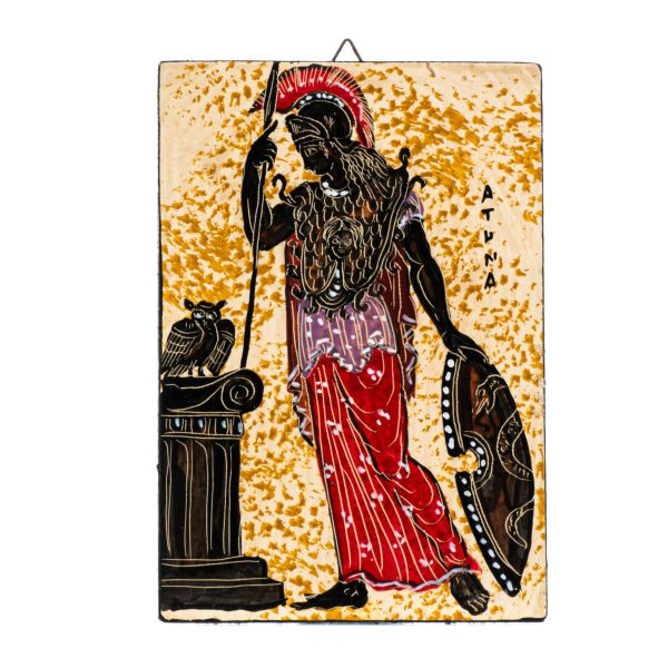 Athena Owl Shield Wall Painting Goddess Of Wisdom Small Handmade Decoration Gift 6 Inches