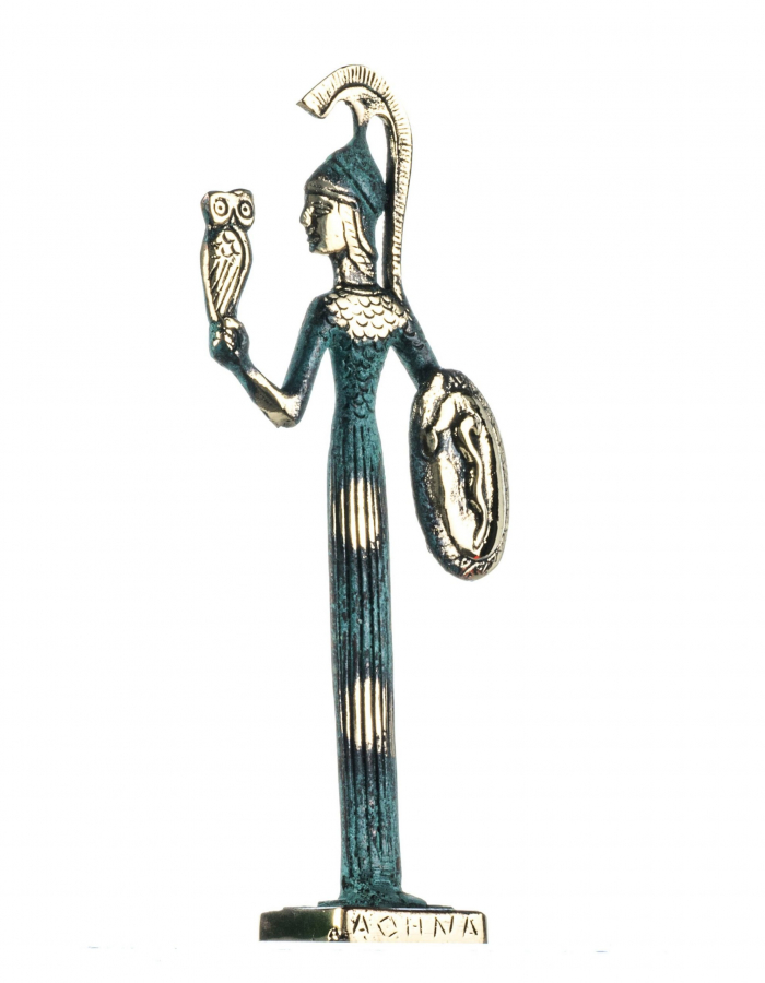 Goddess Athena with Owl and Shield Handmade Solid Bronze 8.4 Inches