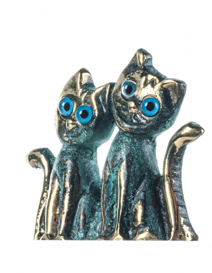 Set of Cats Solid Bronze Greek Handmade Miniature Green-Gold 2 Inches