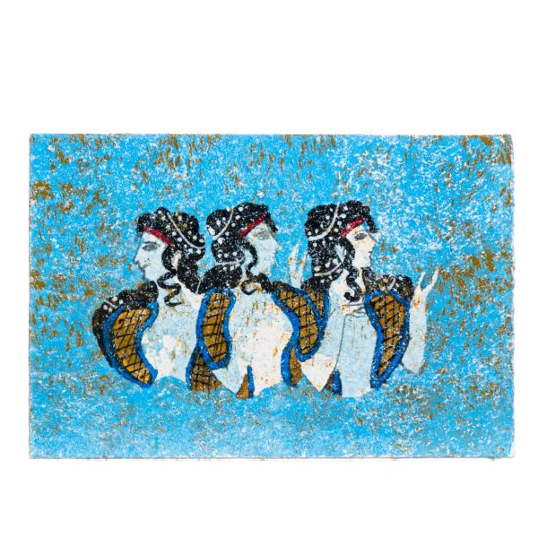 Ancient Greek Minoan Wall Painting Ladies in Blue Small Handmade Decoration Gift 4 Inches