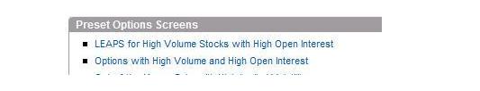 OptionsXpress 'Ready to Use' Screener for Liquid Stocks