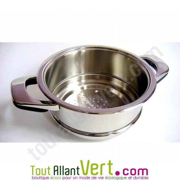 panier vapeur ou passoire 24cm en inox 18 10 basse temperature abe