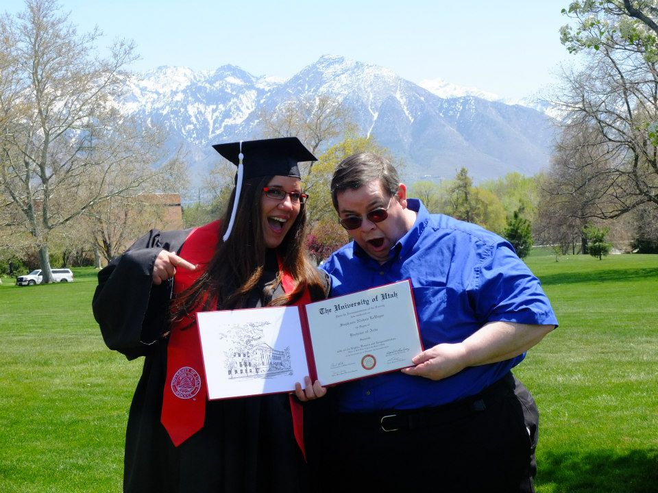 360 pound people graduate from college!