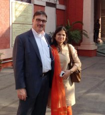 Dr. Richard Hertle with pediatric ophthalmologist Seljha at the 100-year-old Dr. Shroff's Charity Eye Hospital in Delhi, India.