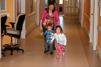 Shuffling Sam and Bekah down one of the NICU hallways