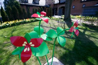 You can find this 6 ft. Red Trillium sculpture on the grounds of Stan Hywet Hall and Gardens at 714 N. Portage Path in Akron.