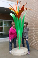 Daylily sculpture outside of the Akron Urban League