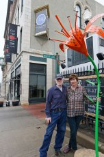 Artists Stephen Canneto and Judith Spater with the Tiger Lily on E. Market Street.