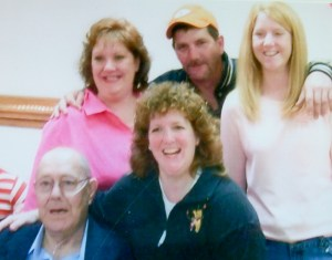 Dale's 70th birthday with  his kids. I'm the blonde.