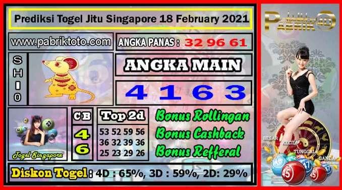 Prediksi Togel Jitu Singapore Kamis 18 February 2021