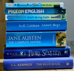Some of the bluest books I own.
