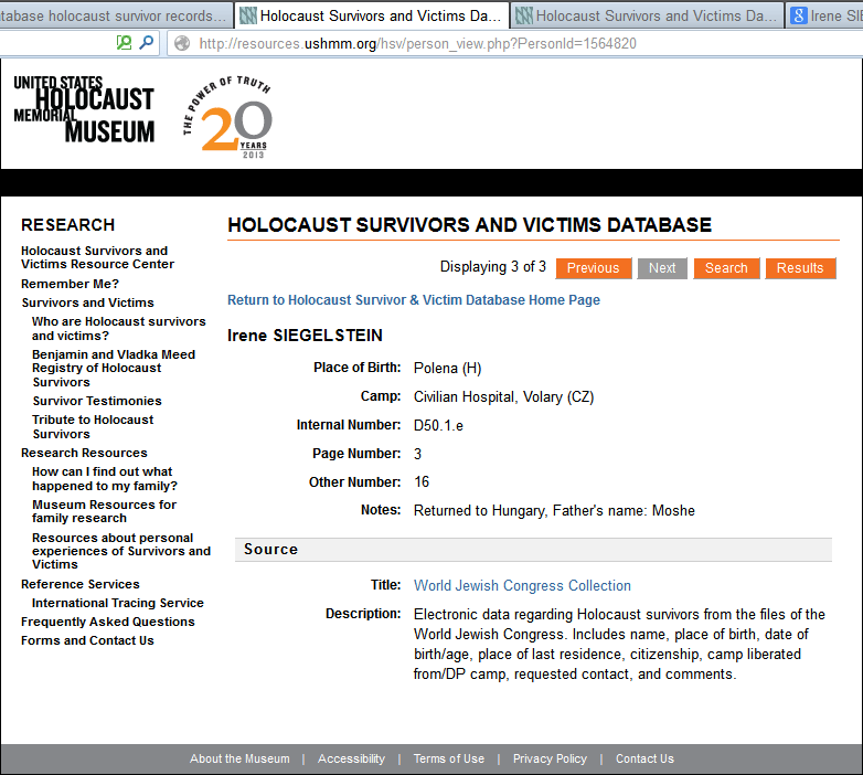 Siegelstein - Holocaust survivor database