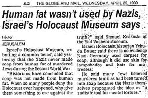 Human fat never used by Nazis