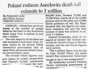 Poland reduces Auschwitz death toll