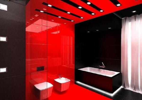 Красный цвет в интерьере ванной комнаты Фото Дизайн