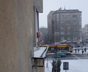 J at his Puławska St window relishing snow