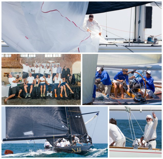 Clockwise from top: Crew work on Legacy (KZ-5); Legacy celebrates at the awards ceremony; Columbia (US-16); Challenge XII (KA-10) in its final race; Mauro Pelaschier, helmsman of Nyala (US-12) (Photo Credit: Ian Roman)