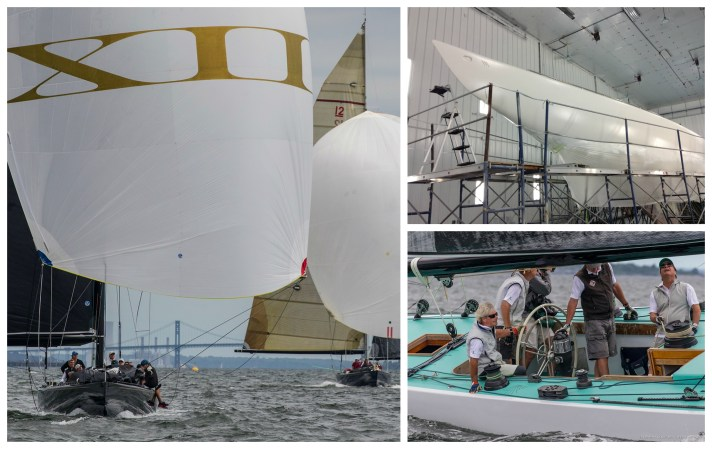 Clockwise from left: Challenge XII (KA-10) under sail, Freedom (US-30) at Pilots Point Marina in 2017; Intrepid (US-22) under sail. (Photos by Stephen R Cloutier and courtesy of Freedom)