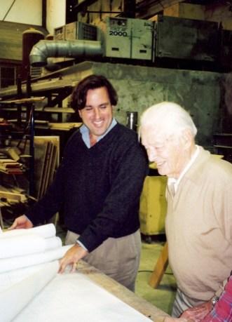 Earl McMillen reviews Onawa's restoration plans with legendary yacht designer Olin Stephens.