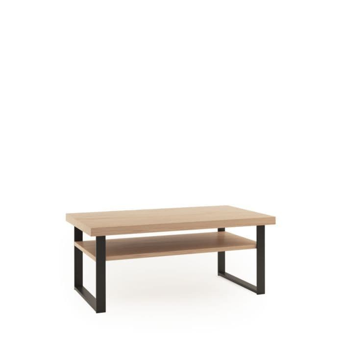 sturdy constructed grantham oak and black coffee table