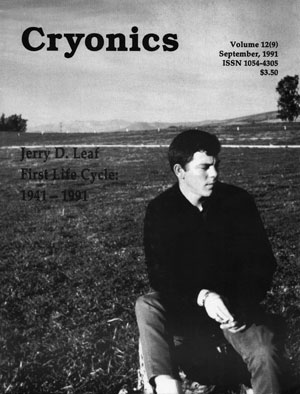 Jerry Leaf on cover of Cryonics Magazine